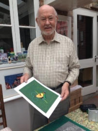 Robert Gillmor with the linocut he made for our cover